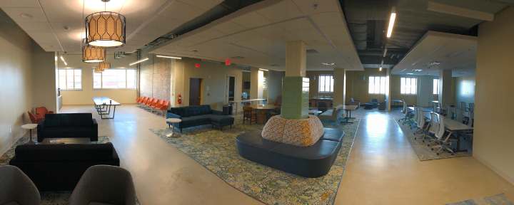 A panoramic view of the new Innovation Hub that opened in the Chesterfield building in downtown Durham this month