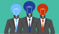 3 University lightbulb headed figures in suits and tie.