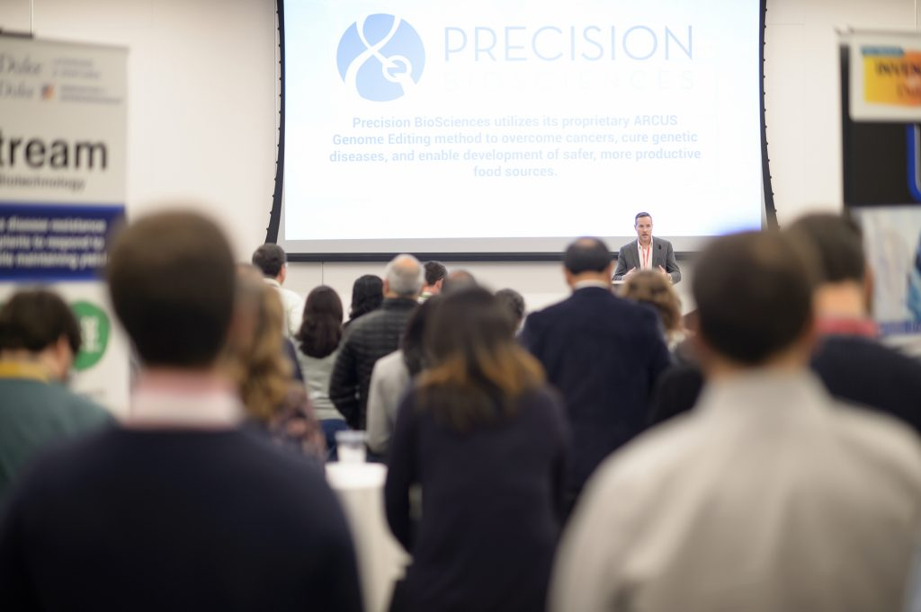 Derek Jantz, CSO Precision BioSciences speaking at Invented at Duke 2019