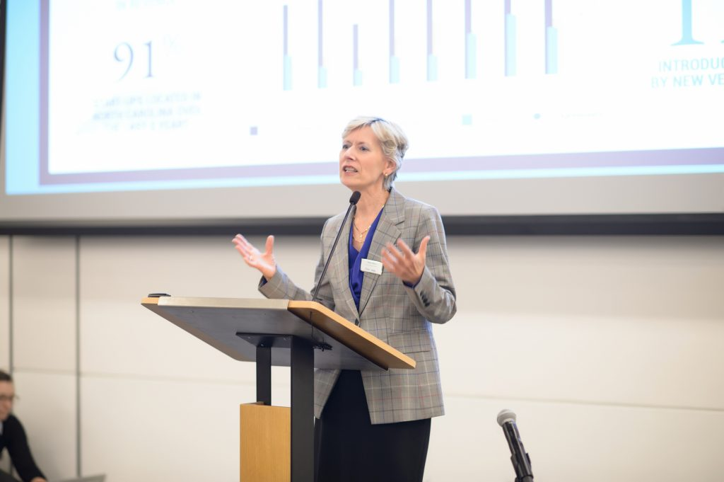 Executive Director of OLV, Robin Rasor, speaking at Invented at Duke, 2019