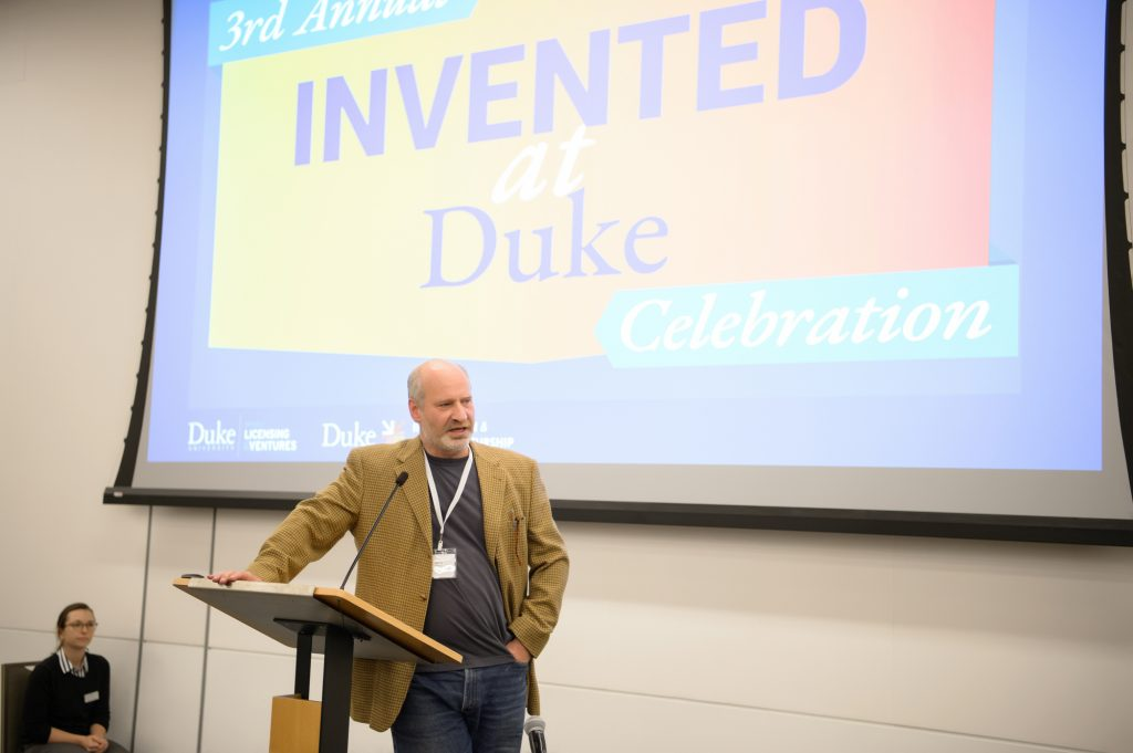 Barry Myers speaking at Invented at Duke, 2019