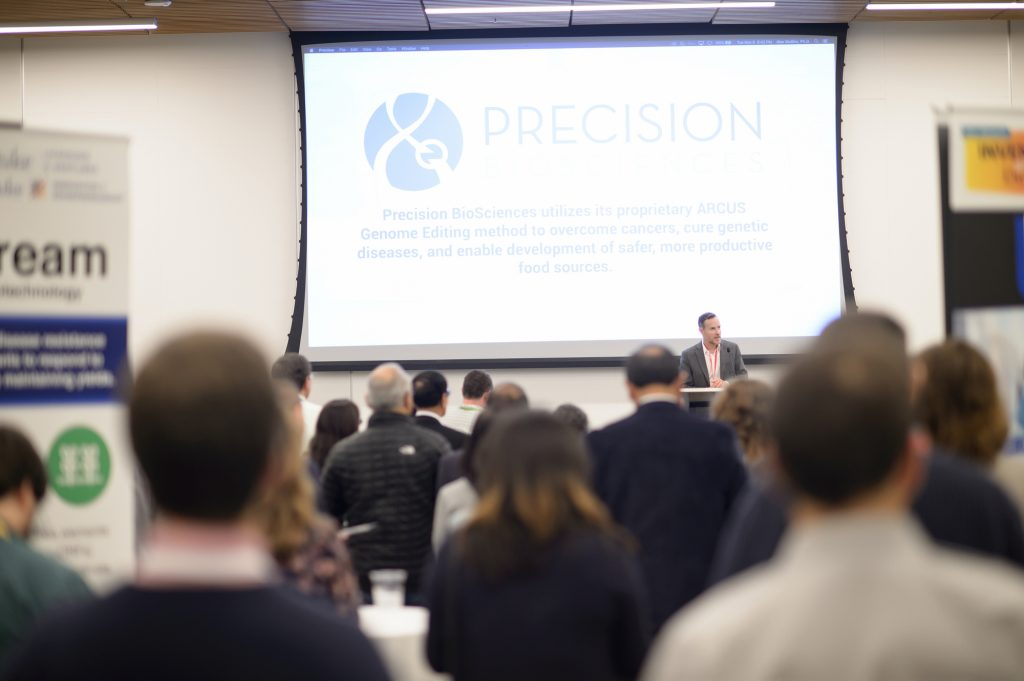 Guest speaker Derek Jantz, CSO of Duke start-up Precision BioSciences, talked about his company's journey from start-up to going public this past year.