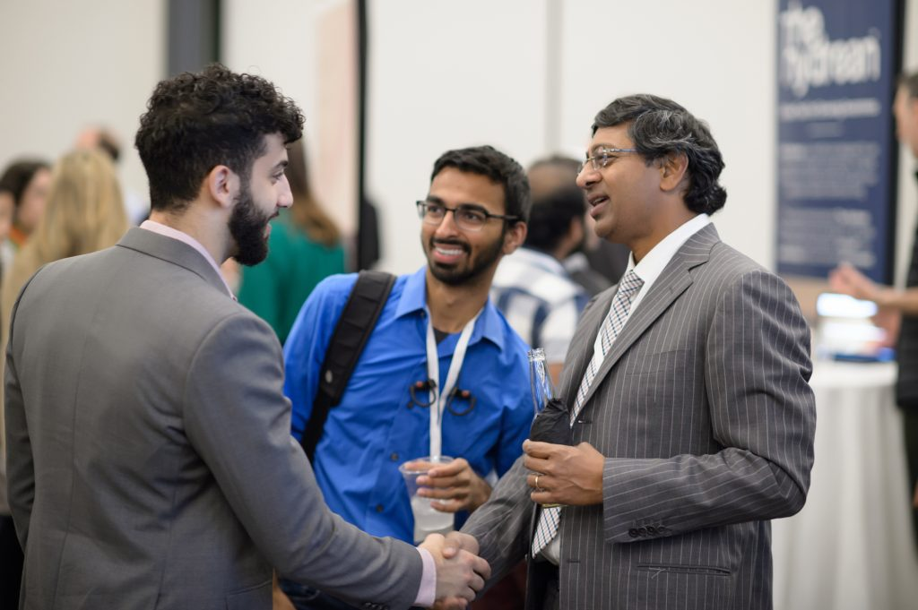 Ravi Bellamkonda, Dean of Engineering at Duke University, speaking with guests at Invented at Duke 2019