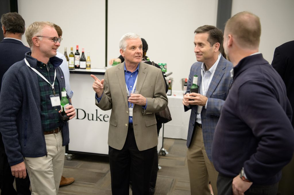 Donald McDonnell chatting with Arles Taylor from Jenkins Wilson Taylor and Hunt at the 3rd Invented at Duke celebration