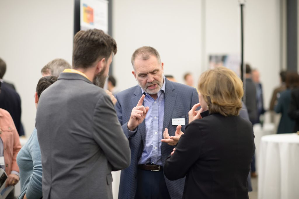 I&E's Jon Fjeld speaking with guests at the 3rd Invented at Duke celebration